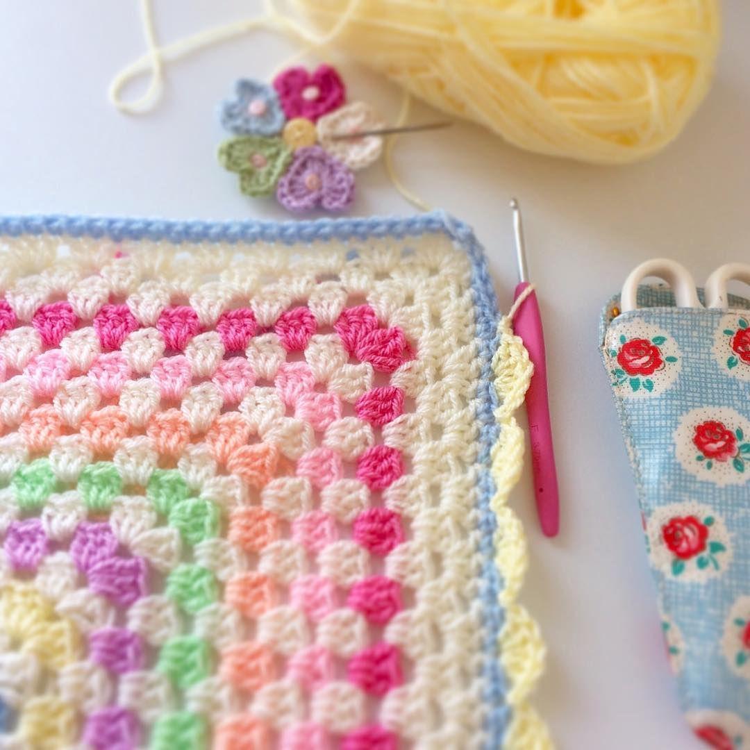 Border time for this blanket ❤️...  #lovecrochet #instacrochet #crochetersofinstagram #sharethecrochetlove #mycrushonblankies #grannyblanket #grannysquare #grannysquaresrock #crochet #crochetblanket #crochetlove #prettypastels #petalcrush #craftastherapy #crocheteveryday #stylecraft #stylecraftspecialdk