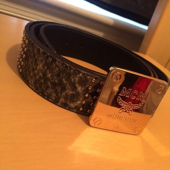 MCM Designer Belt MCM belt with snakeskin material and gold