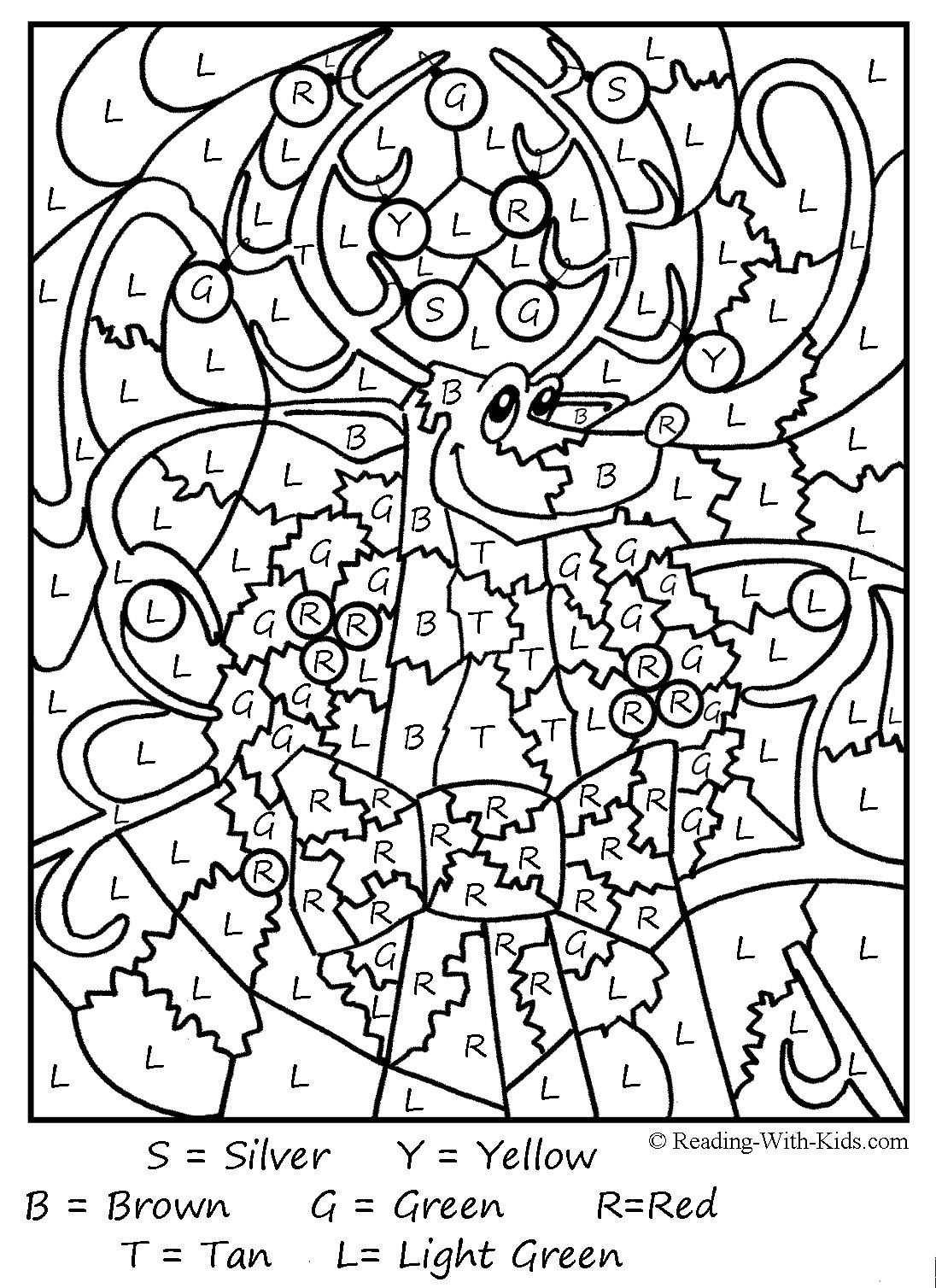 Color By Letter Reindeer And Other Coloring Pages