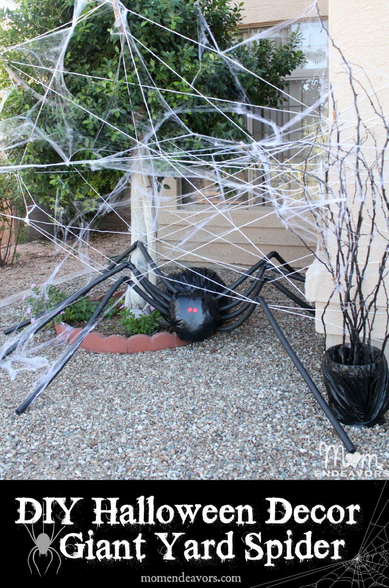 Diy Halloween Yard Decor Giant Spider In Spiderweb Full