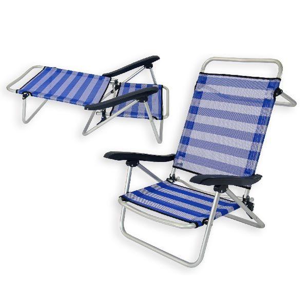 Lay Down Beach Chairs Folding Chair Blue Stripes Gray Recliner