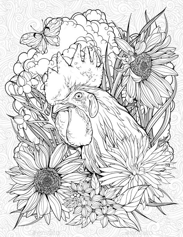 Coloring Page With Rooster And Butterfly Sunflower Coloring