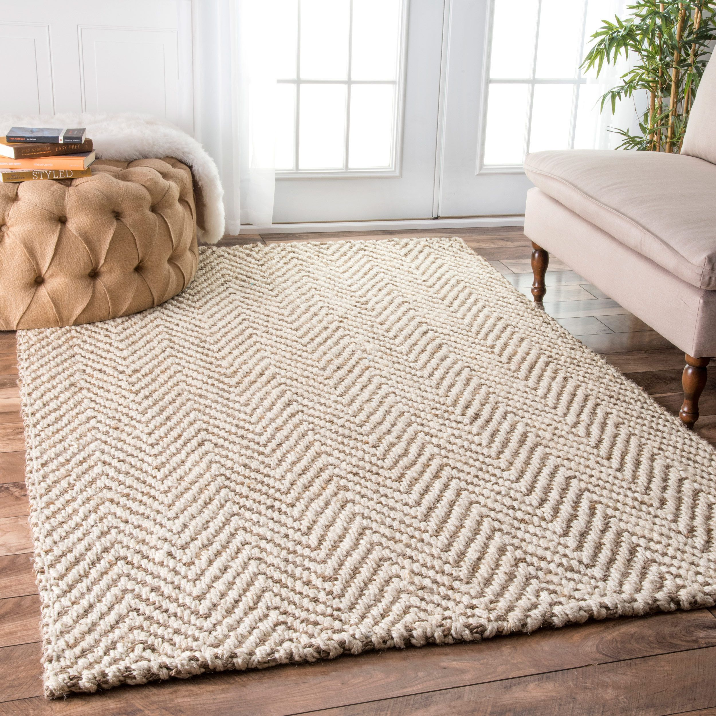Chevron Kitchen Rug: NuLOOM Handmade Eco Natural Fiber Jute Chevron Ivory Rug