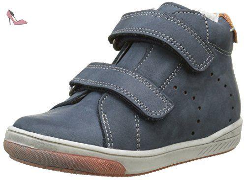 Babybotte Antilles, Chaussures avec fermeture velcro Garçon, Bleu (136  Marine/Orange)