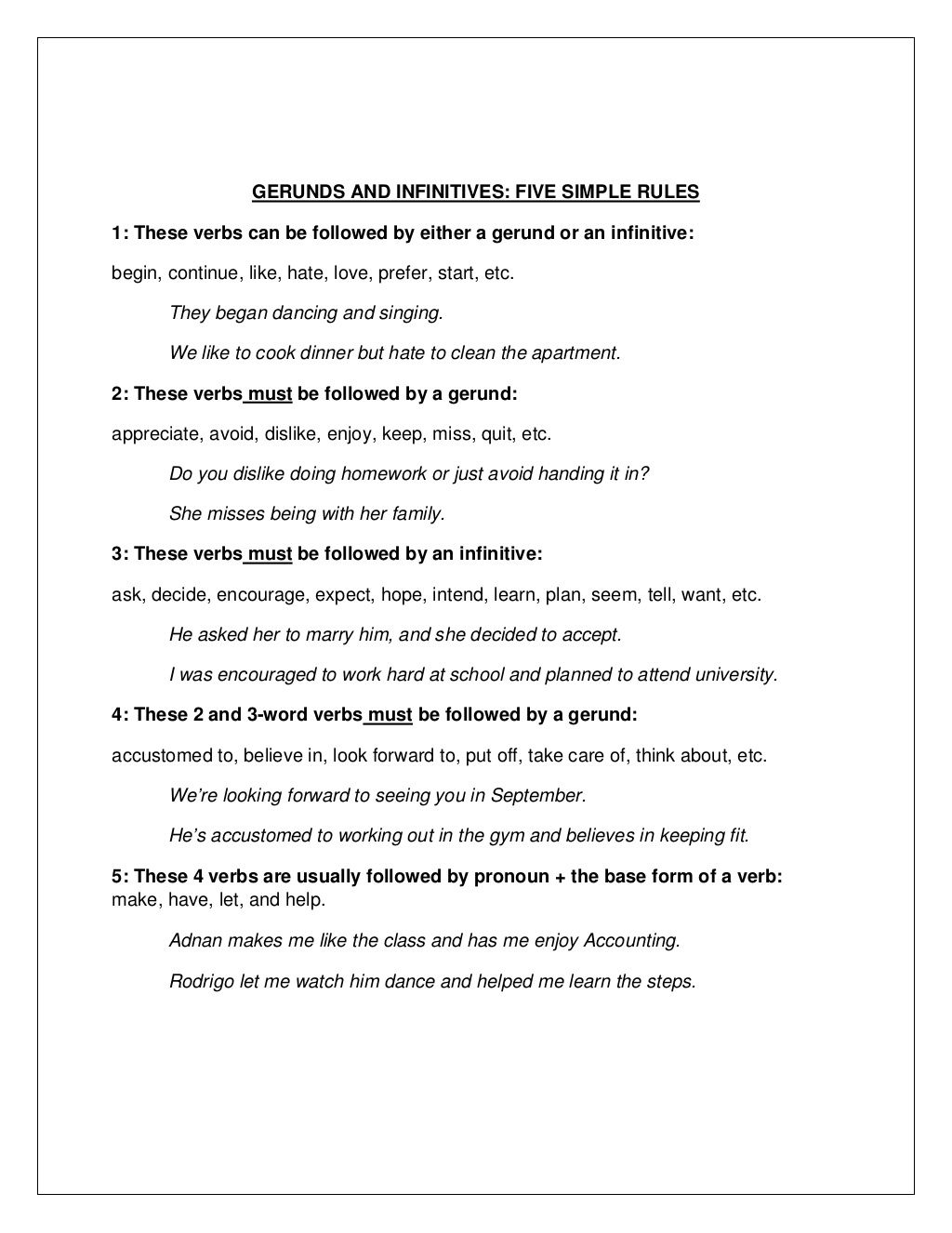 hight resolution of Gerunds vs Infinitives - 5 rules   Writing classes