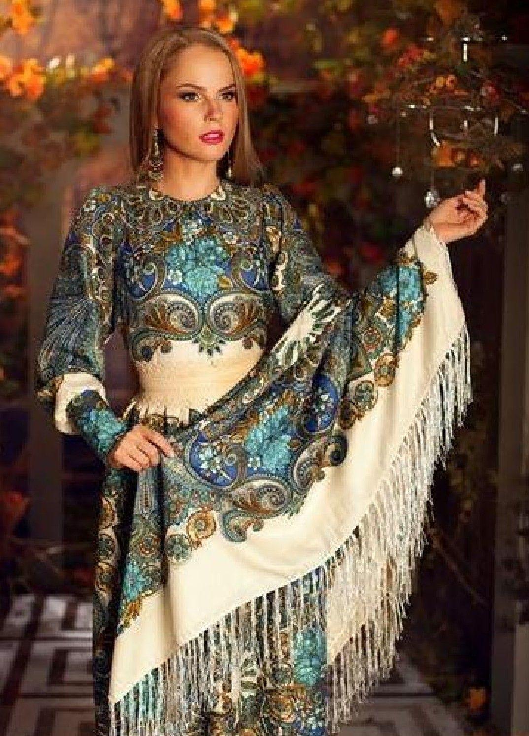 платье длинное из платков