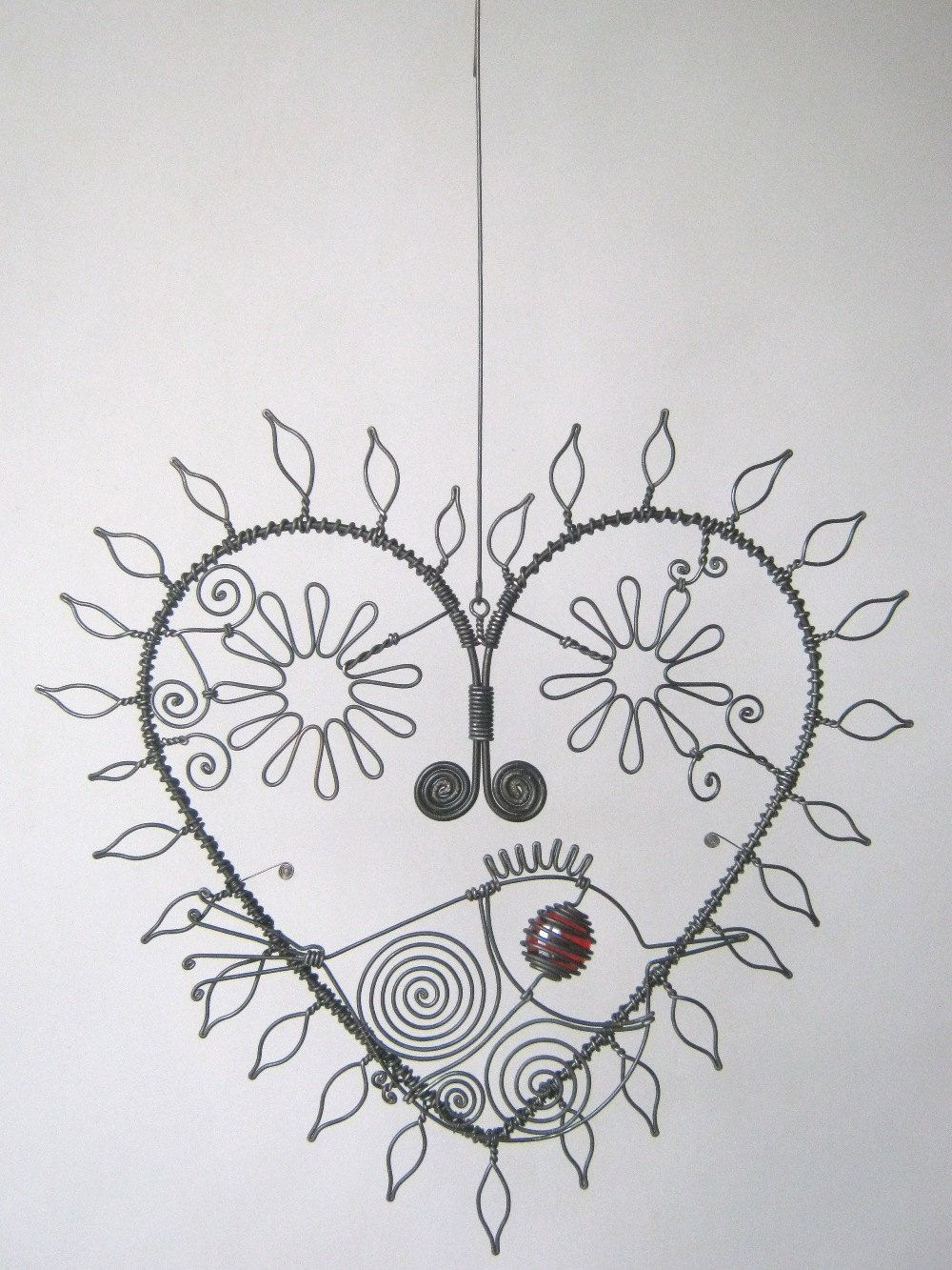 Wire Art Heart Sculpture With Leaves And Flowers And by MyWireArt ...
