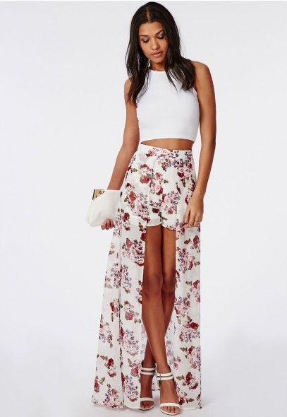 Floral Print Shorts With Maxi Skirt Detail - Dresses - Maxi Skirts ...