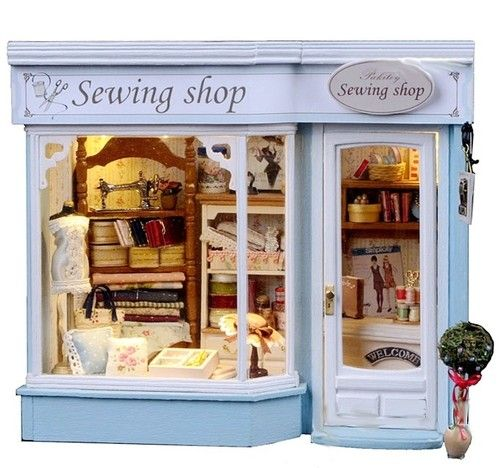 Dollhouse Miniature DIY KIT W Light Sewing Store Tailor