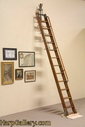 Putnam Rolling Ladder 11 Library Or Loft Antique Furniture Loft Ladder Cottage Living Rooms