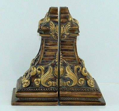 Medallion and Acanthus Leaf Gold and Bronze Finish Resin Heavy Bookends 7"