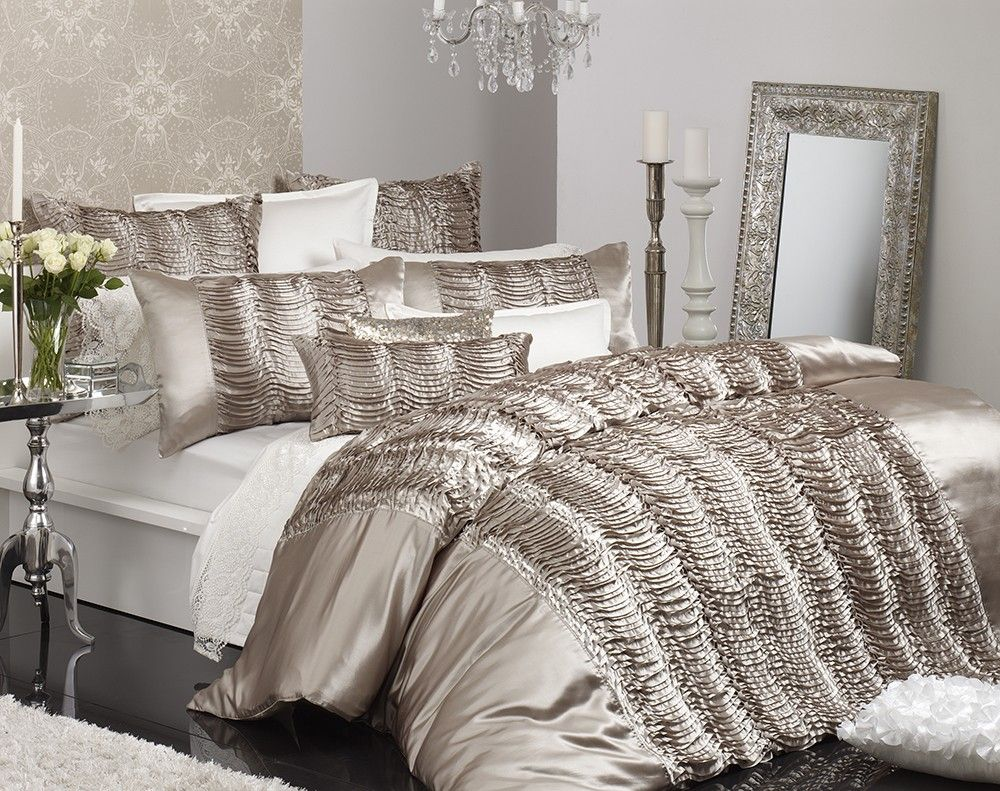 silver and white king bedding Price Linen Ravinda