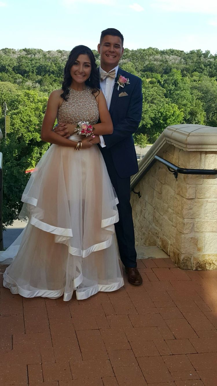 San Antonio Blue And Gold Dress Prom Couples Gold Prom Dresses [ 1334 x 750 Pixel ]