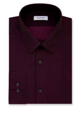 abb35a1a Calvin Klein Men's Steel Non-Iron Performance Slim Fit Dress Shirt -  Bordeaux - 16.5 34/35