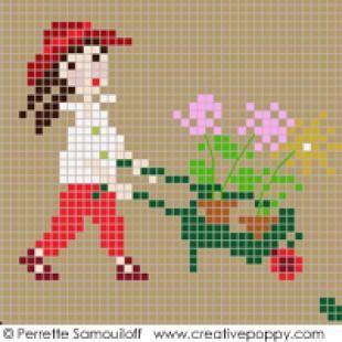 Collection Happy Childhood – Grille point de croix rouge par Perrette Samouiloff   – kanaviçe