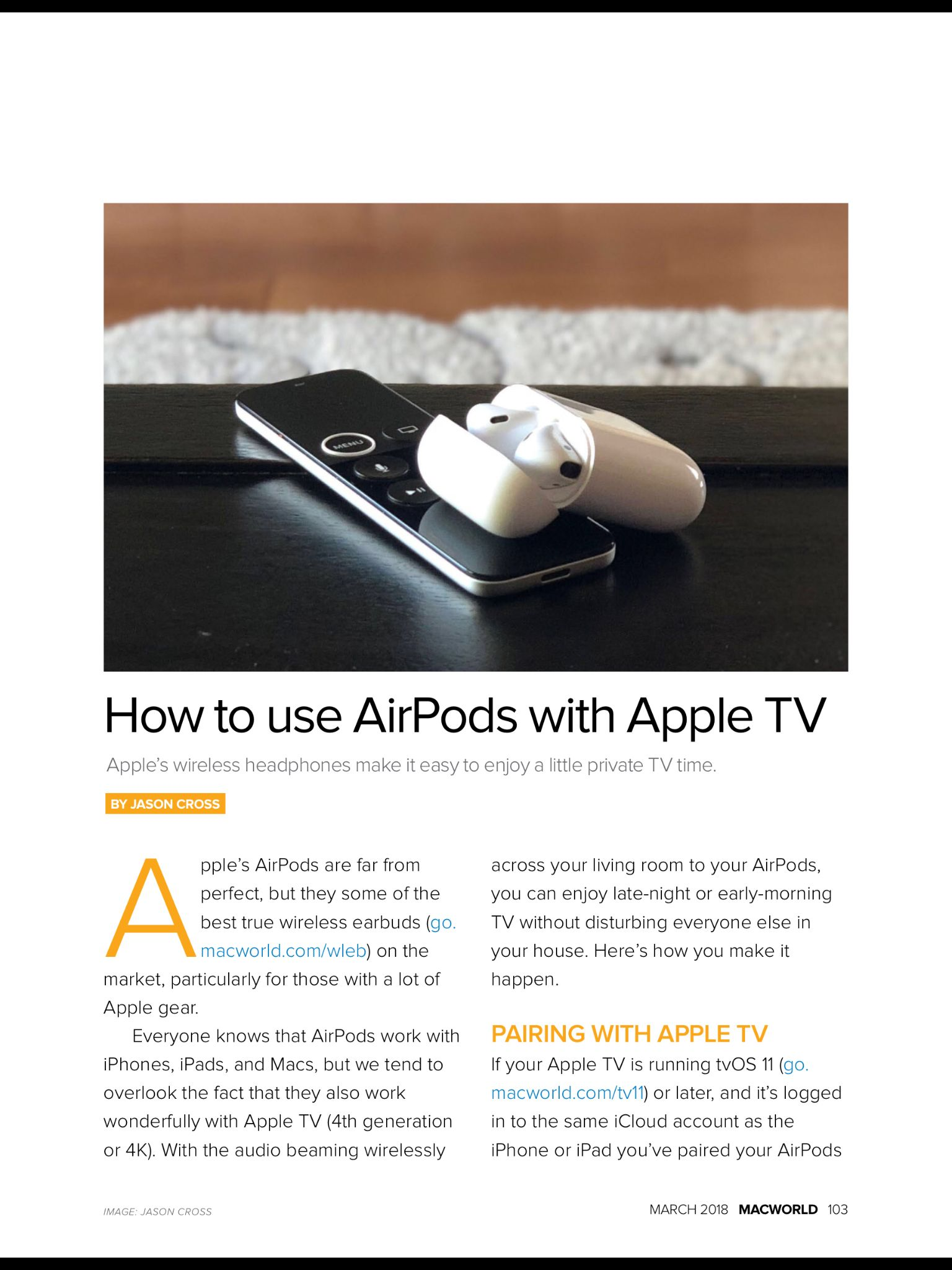 """""""How to use AirPods with Apple TV"""" from Macworld, March"""
