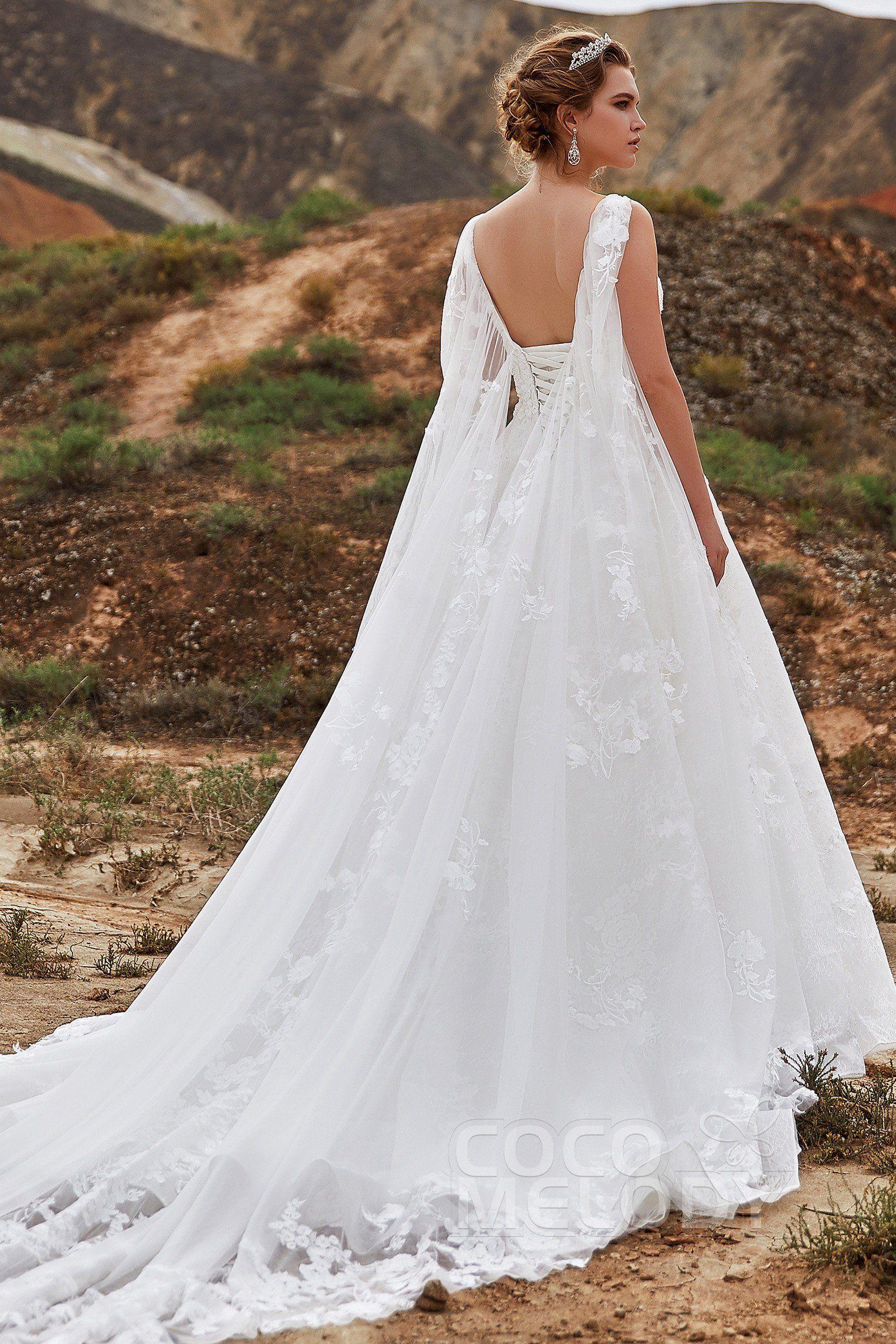 ALine Cathedral Train Lace Wedding Dress LD5766 Wedding