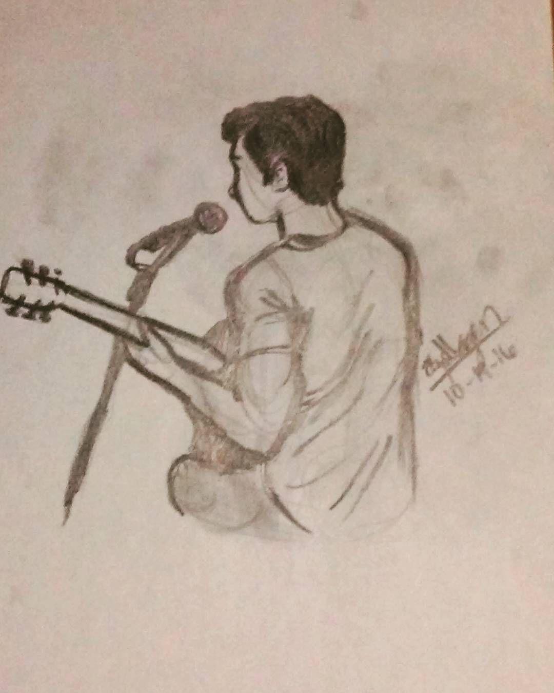 Boy with guitar singer musician based on joey barreiro pencil drawing by eliza
