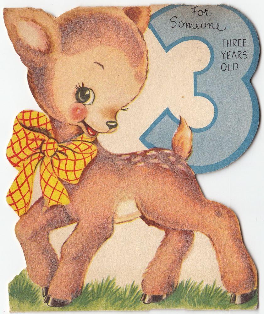 Vintage greeting card cute animal flocked deer birthday 3 years old vintage greeting card cute animal flocked deer birthday 3 years old 1950s v963 kristyandbryce Choice Image
