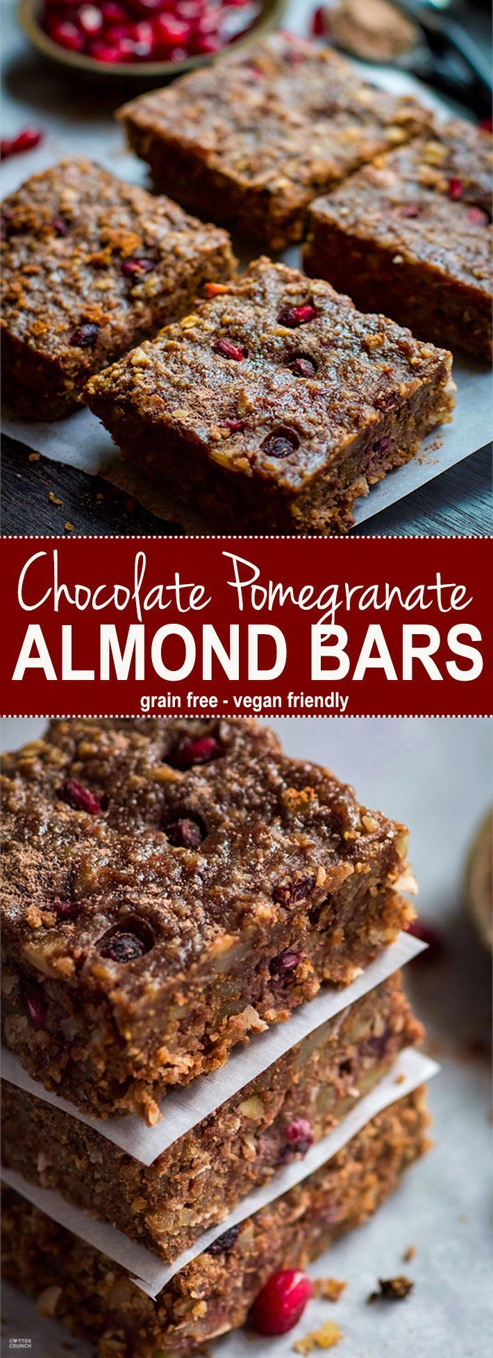 Gluten Free Chocolate Almond Bars with Pomegranate! Oh heavens yes! A Vegan friendly and Gluten Free Chocolate Bar you can have for breakfast, snack, or dessert! Packed with Antioxidants (cocoa, almonds, pomegranate) and bursting with flavor. Healthy yet satisfying. http://www.cottercrunch.com