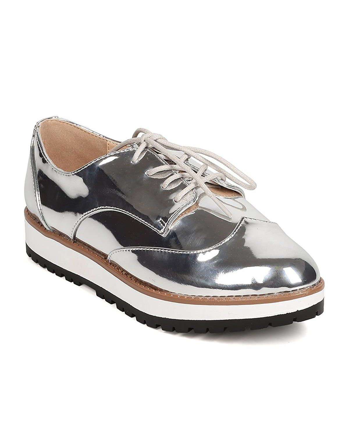 36b814b7a6be Qupid FD75 Women Metallic Leatherette Lace Up Spectator Loafer - Silver     Details can be