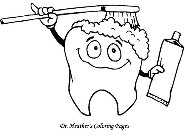 tooth brushing himself at dentist coloring pages optimal dental