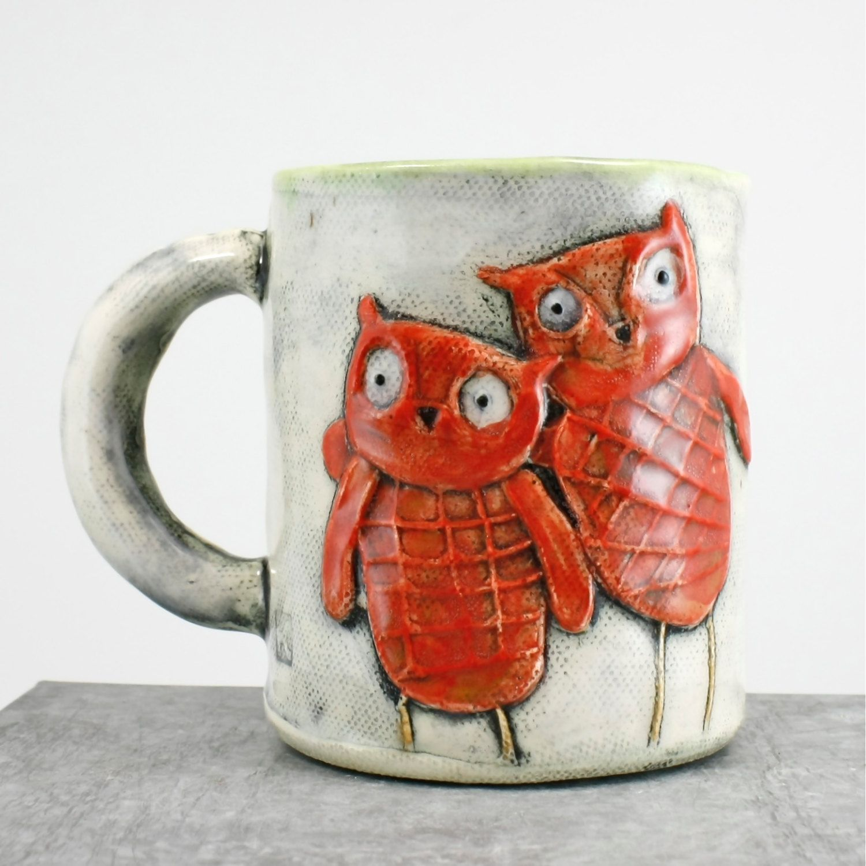 Ceramic Mug Owl design orange and white green by hadleyclay