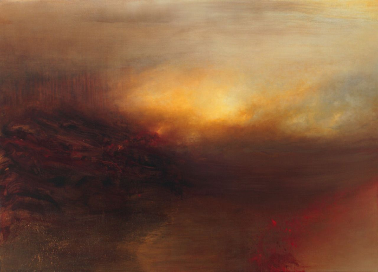 """from 2012: Tocsin, 56"""" x 78"""", oil and varnish on canvas, Samantha Keely Smith. """"Smith's work reads to me like an image of the primordial past, a memory of the Hadean Eon, the volcanic age with which..."""