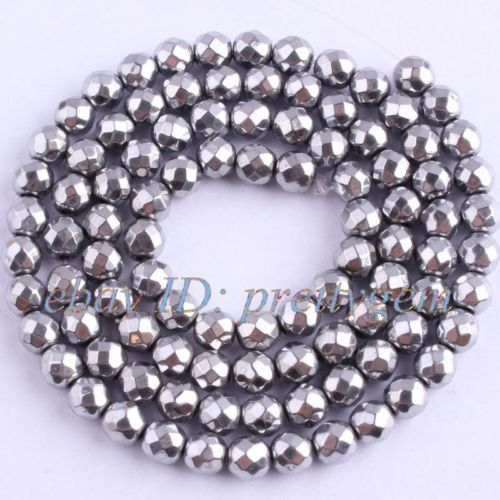 4MM-ROUND-FACETED-HEMATITE-LOOSE-GEMSTONE-BEADS-STRAND15-NOT-MAGNETIC
