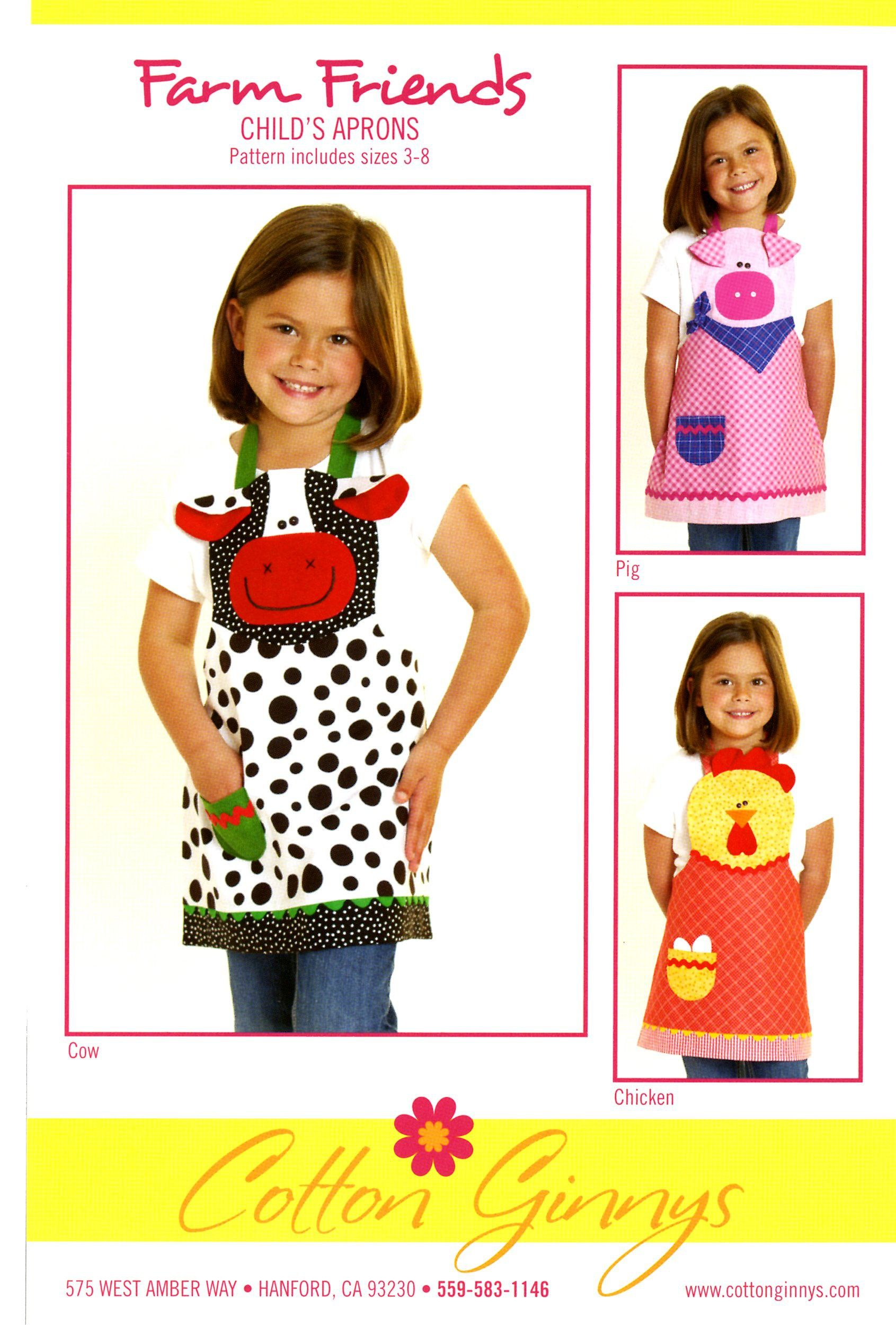 Farm Friends Child's Apron Cow, Pig & Chicken By Rose, Cynthia  - Kids love aprons! Makes helping mom or play time a lot more fun. They are easy and enjoyable to make and exciting to give as gifts. Pattern includes the cow, pig and chicken in sizes 3 thru 8.