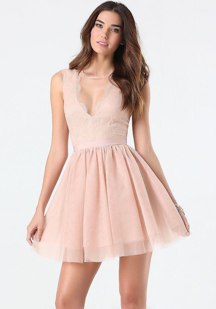 bebe Flare Puff Skirt Dress | bebe | Pinterest | Bebe
