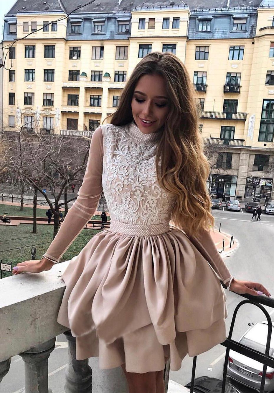 Aline high neck long sleeves champagne homecoming dress with