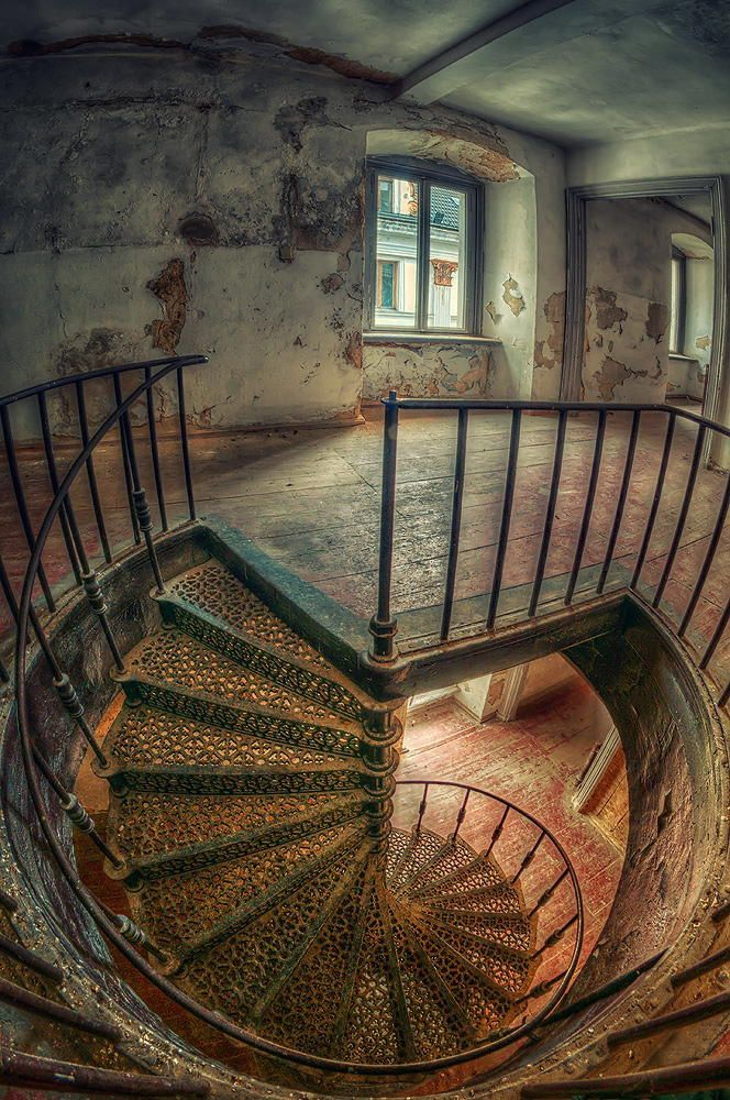 Spiral Staircase In An Abandoned Palace In Poland