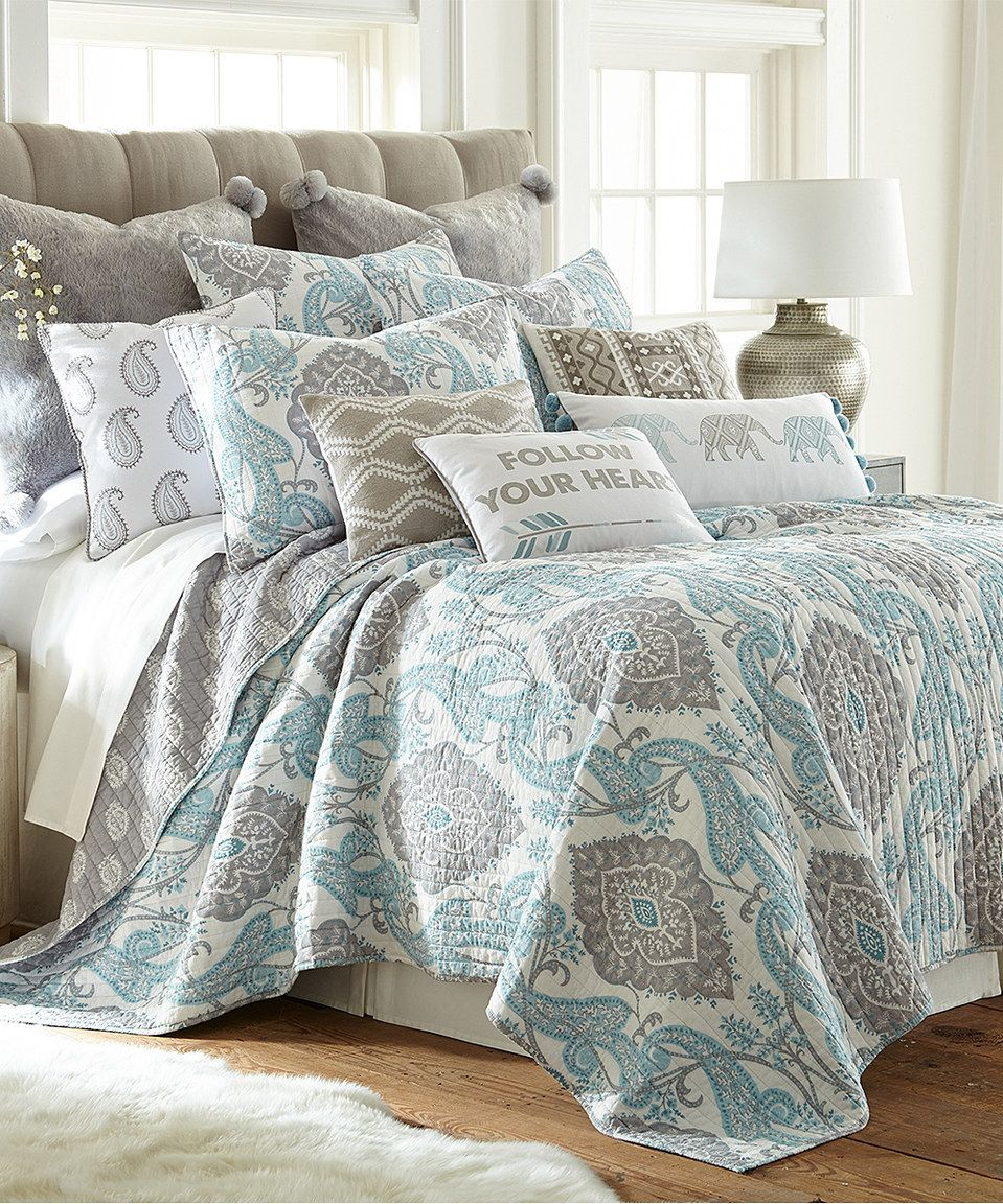 Look what I found on zulily! White, Gray & Blue Kim Quilt