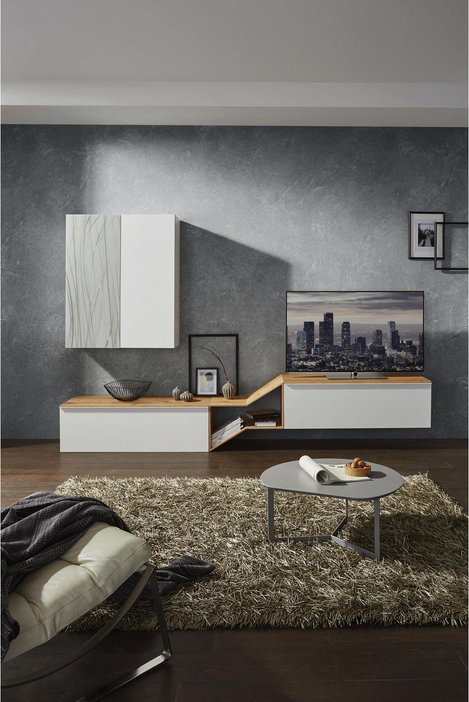wohnwand in grau weiß eichefarben in 2020  wohnen tv