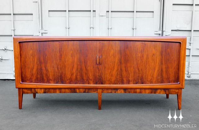 Absolutely stunning Danish modern tambour credenza in rosewood designed by Kurt Østervig for Brande Møbelindustri.