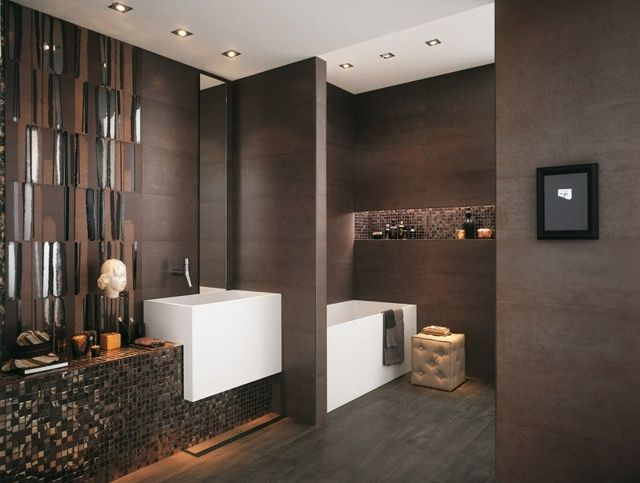 decoration salle de bain moderne marron. Black Bedroom Furniture Sets. Home Design Ideas