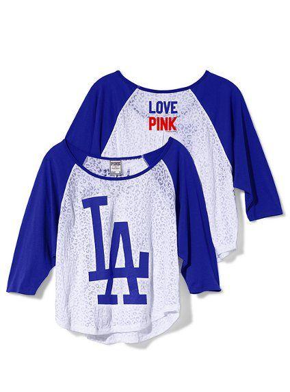 d8e3e14ed Victoria s Secret PINK® Los Angeles Dodgers Oversized Raglan Tee ...