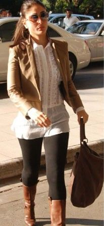 Loved Kareena Kapoor S Tan Brown Short Jacket With Really Narrow Lapels For This Season Western Outfits Short Jacket Kareena Kapoor Photos