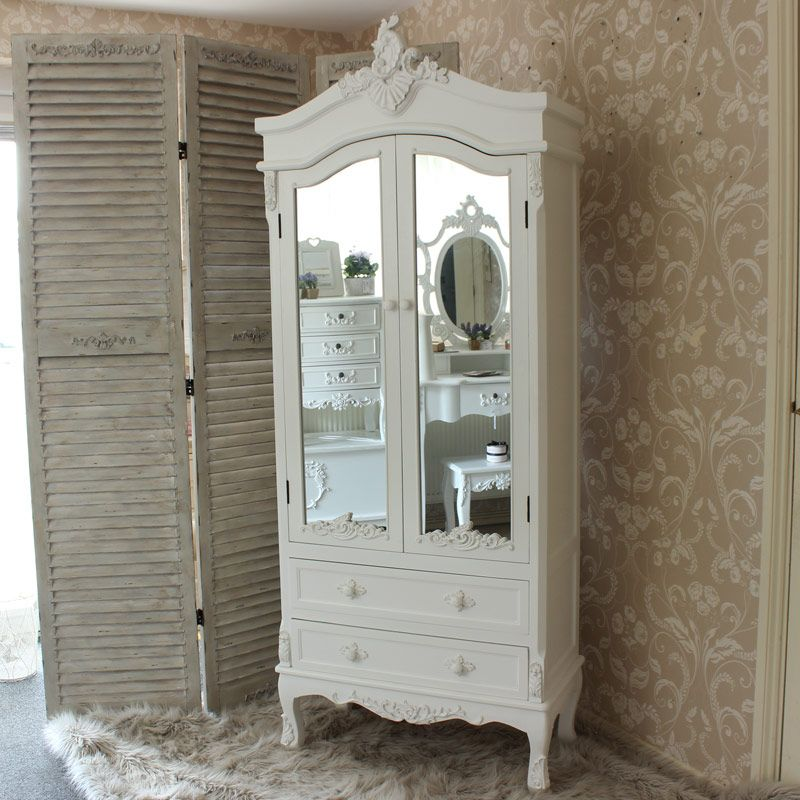Antique White Mirrored Closet - Pays Blanc Range