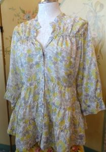 beautiful Johnny Was silk blouse.  The pattern reminds me of a Liberty print.
