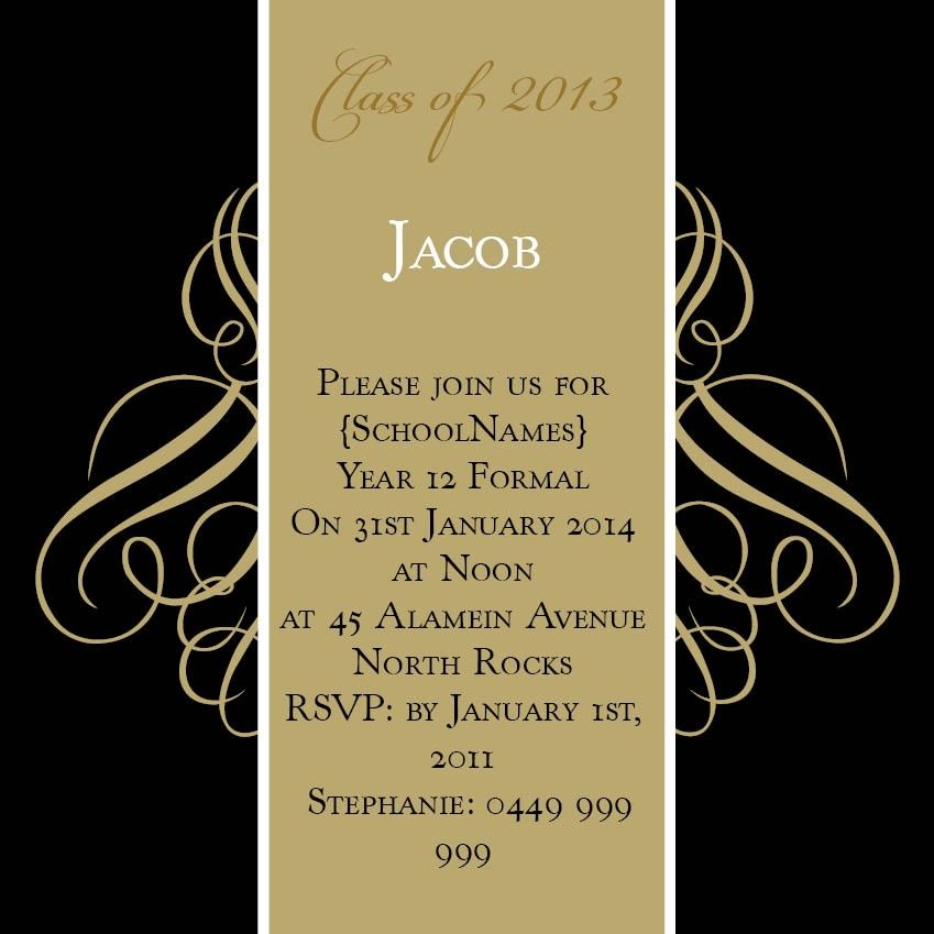 Black and Gold Swirls Square w Magnet in Gold Fusion Invitation – Formal Invitation