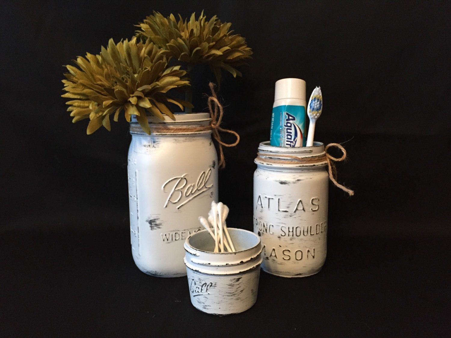 Set of White Mason Jars, Bathroom Set, Painted and Distressed Jars, Upcycled and Repurposed Home Decor, Organization by DesignCreateInspire on Etsy