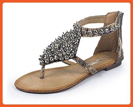 7eb95f50e1b1 CRC Women s Roman style Open Toe Rhinestones Casual Comfortable Grey  Snakeskin Synthetic Flip-flop Flats Sandals 8.5 M US - Sandals for women  ( Amazon ...