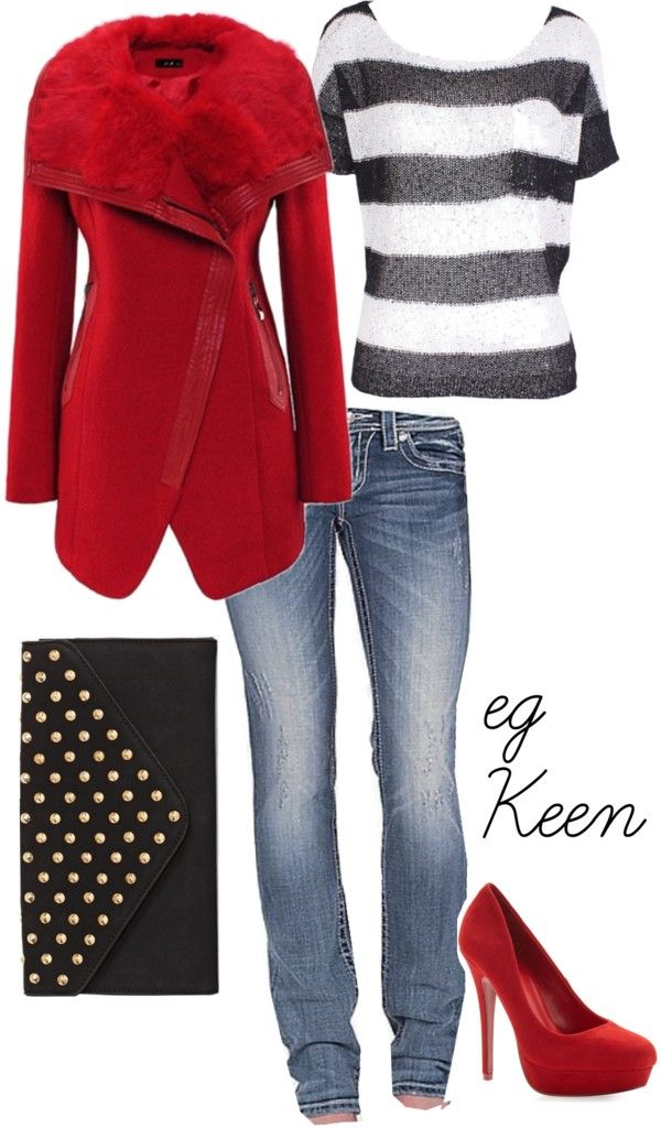 I really like the shirt and the clutch. :) The red fur reminds me of Rihanna :o