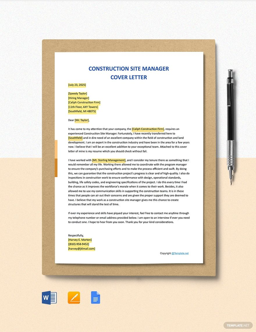 Construction site manager cover letter template free pdf