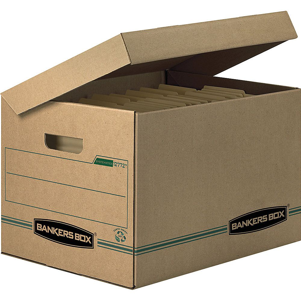 Bankers Box Earth Series Systematic 100 Recycled Kraft Storage Boxes Letter Legal 10 X 12 X 15 Pack Of 12 Storage Boxes Lettering Recycling