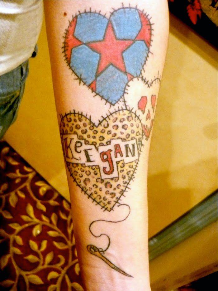 Will Koffman Tattoo: Patchwork Hearts | tattoo????? | Pinterest ... : quilt heart tattoo - Adamdwight.com