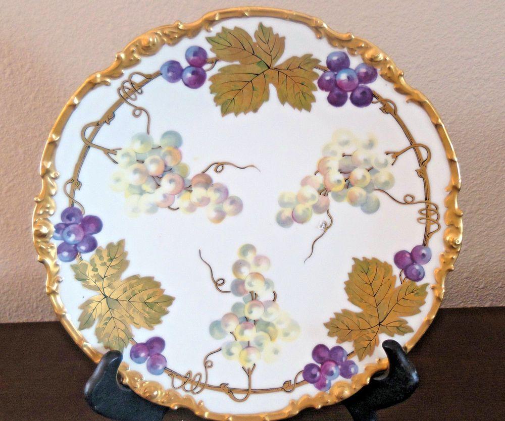 1909 La Seynie Limoges P u0026 P France Dinner Plate Handpainted Grapes/Gold Edge #LaSeynieLimoges & 1909 La Seynie Limoges P u0026 P France Dinner Plate Handpainted Grapes ...