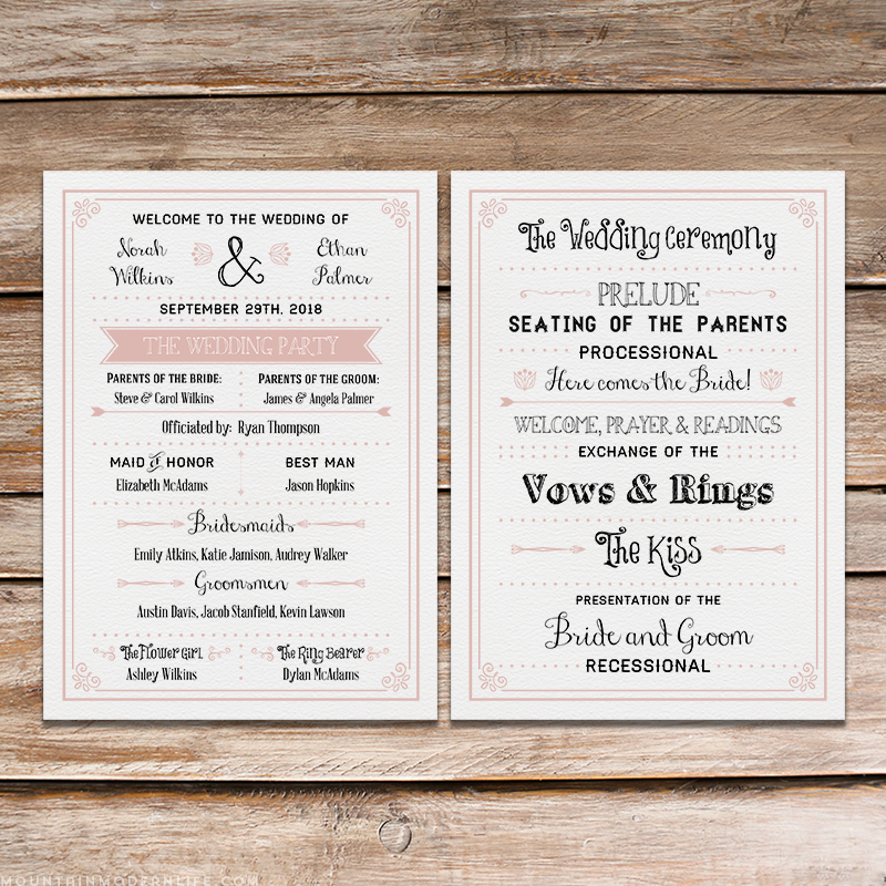 Printable Chalkboard DIY Wedding Program | Wedding programs, DIY ...